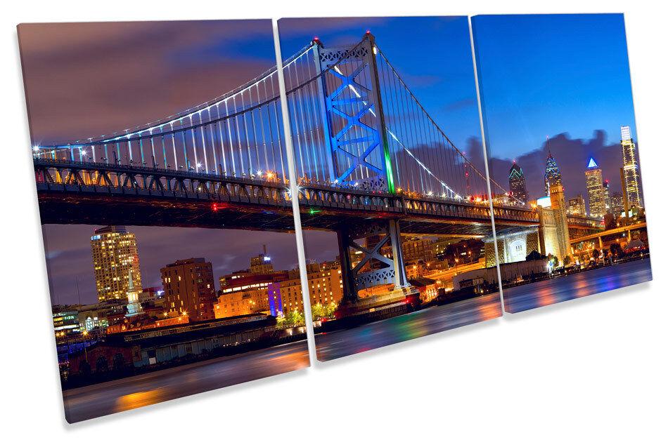 Philadelphia Skyline Ben Franklin Bridge  TREBLE CANVAS WALL ART Picture Print