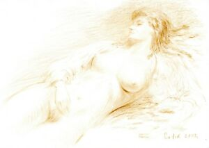 Details About Female Nude Model Naked Woman Original Sepia Drawing Fine Art Signed