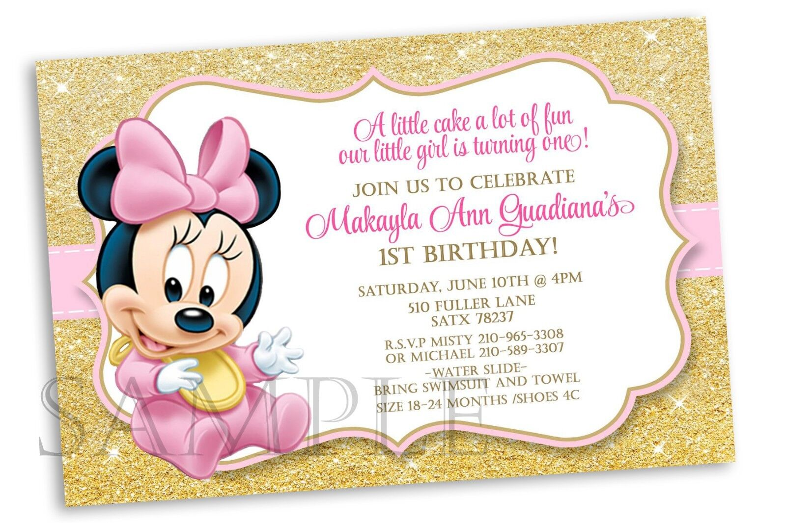 10 Baby Minnie Mouse Pink Gold Birthday Party Personalized