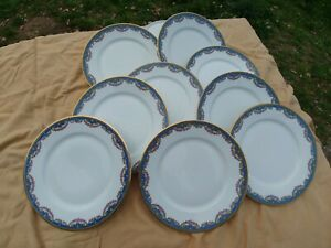 9-Assiettes-plates-anciennes-Jolie-frise-Pts-roses-Style-Marie-Antoinette