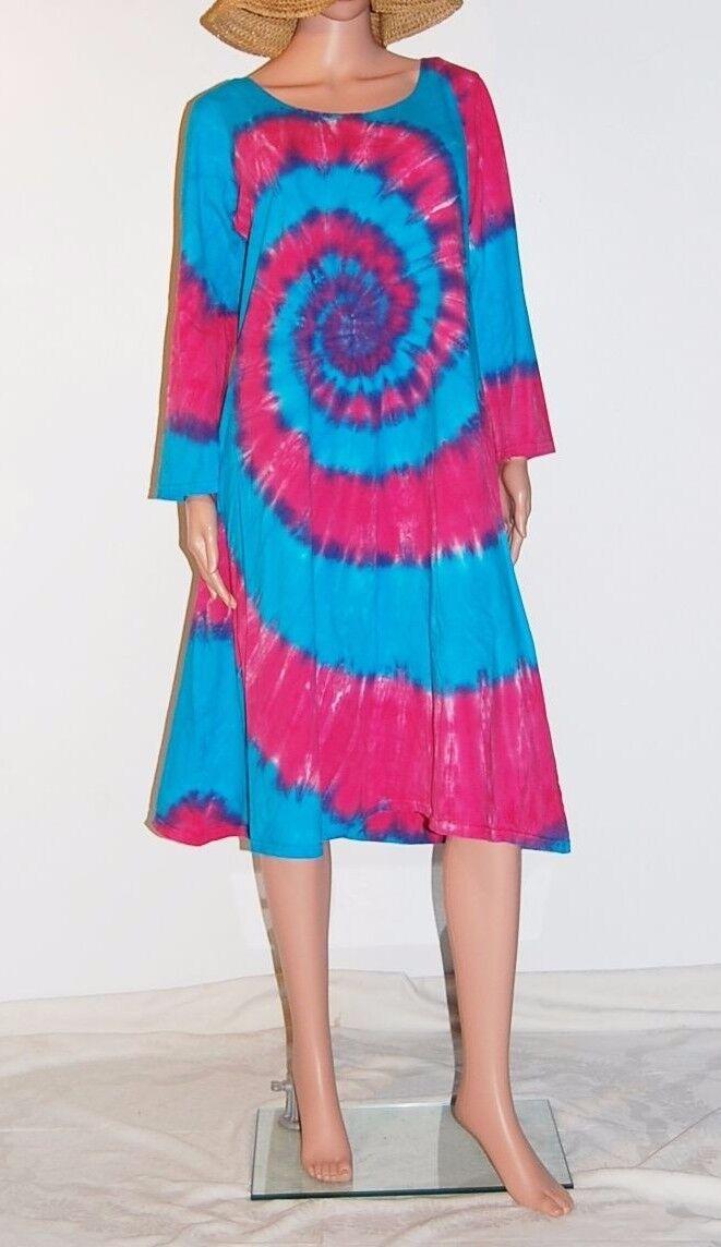 TIE DYE Woherren Rosa & Blau Spiral Long Sleeve Dress hippie sm med lg xl 2X 3X