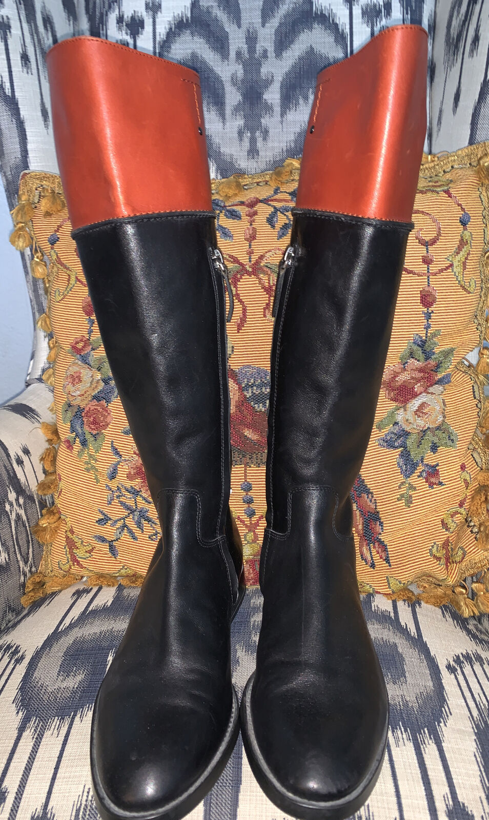 TOD'S Black Brown Leather Tall Riding Equestrian Knee High Fall Boots Womens 8