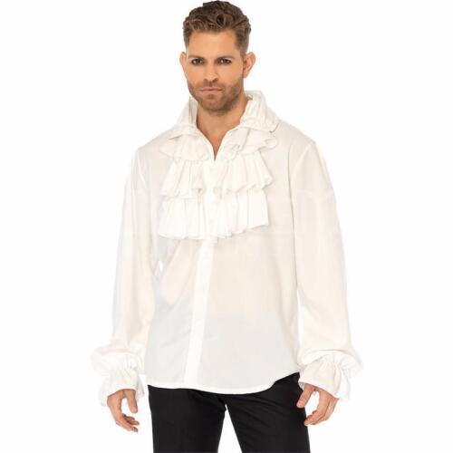 Mens White Ruffle Shirt Regency Beast Prince Adam Pirate Medieval King Victorian