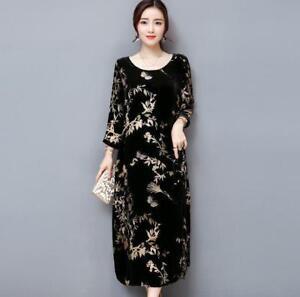 Womens-Retro-Floral-Velvet-Loose-Long-Sleeve-Maxi-Dress-Round-neck-Dress