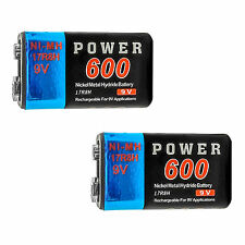 2 pcs 9V 9Volt 600mAh Ni-MH 6F22 PP3 17R8H Rechargeable Battery Power US Stock