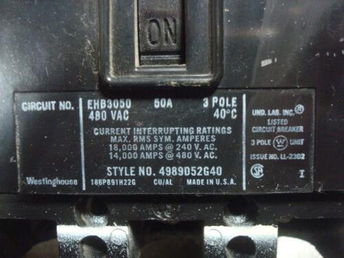 USED Westinghouse EHB3050 Circuit Breaker 50 Amps 480VAC