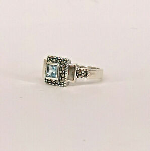 9927775 925er Silber Blautopas-Markasit-Ring Gr.56 Vintage
