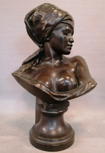 Sculpture-BUSTE-ORIENTALISTE-Bedouine-signe-THIELE-Rudolf-1856-1930-H-72-5-cm