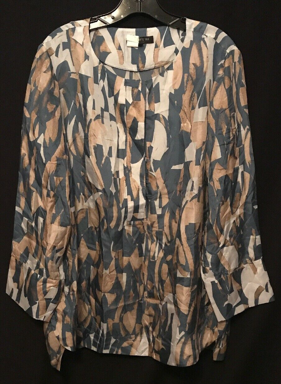 Lafayette 148 Ny bluee tan Silk Long Sleeve Blouse Sz Xl