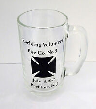 "Vintage 1975 ROEBLING VOLUNTEER FIRE CO. NO. 3 Clear Glass 5.5"" Mug  VGC"