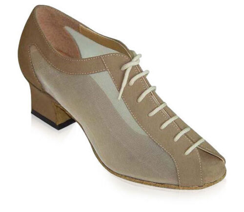 Women Ballroom Practice Dance Shoes Tan Nubuck Mesh Latin Exercise Custom made 9