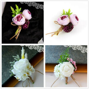 cace096ff Image is loading Men-Women-Canonicals-Corsage-Flower-Brooch-Groom- Boutonniere-