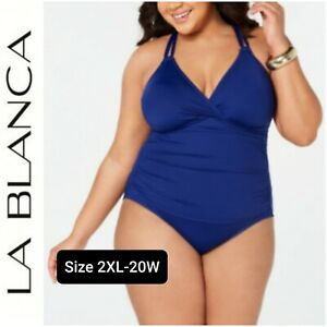 NWT-LA-BLANCA-Women-039-s-One-piece-Slimming-Swimsuit-Plus-Size-20W-Blue