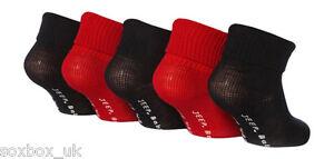 5 Pairs Boys Baby Jeep Turn Over Top socks JBB006 Red Black 0-2, Newborn-18 Eur