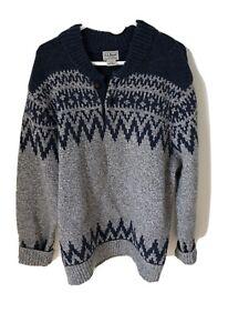 LL-Bean-Women-Sweater-Knit-Long-Sleeve-100-Lambs-Wool-Blue-Grey-Large-Reg