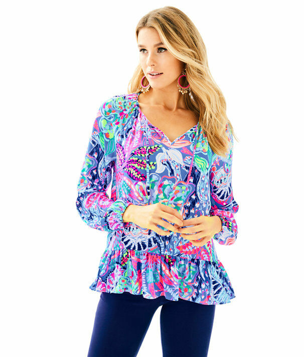 Neu Lilly Pulitzer Tensley Top Multi Fantasie Garten Rosa Lila BlauSE S-L