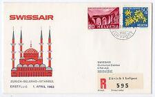 1963 SVIZZERA SWISSAIR VOLO ZURICH-BELGRAD-ISTANBUL B/7928