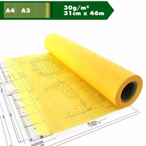 Skizzenpapier Skizzenrolle gelb Tracing Transparent A3 A4 30g//m² ca.31cm x 46m