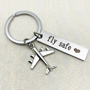 Gift for Pilot Pilot or Flight Attendant keychain with silver toned airplane and Be Safe Word Charm Gift for Flight attendant.