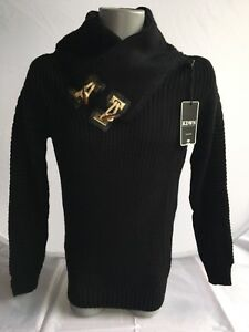 Herren-Pullover-Oberteil-Strickpulli-schwarz-Gr-S-M-von-KDWN-50-Wolle