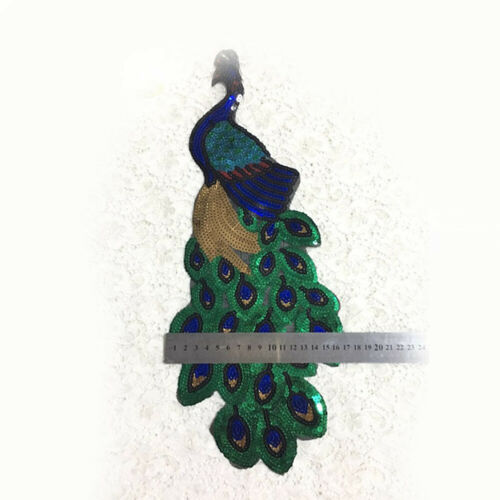 Sequins Peacock Sew Iron Patches Embroidered Badge Applique Sewing Cloth Patch B