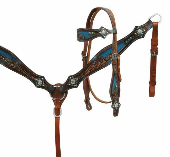 SHILOH blu AND Marronee PAINTED LEATHER HEADSTALL AND BREAST COLLAR SET 7027