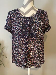 JR-Womans-American-Eagle-Outfitters-Scoop-Neck-Button-Up-Blouse-Size-Medium