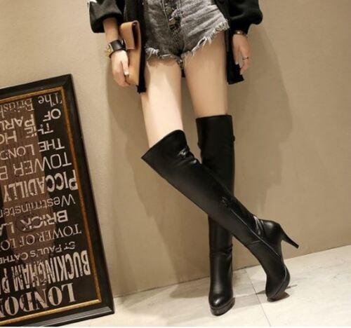 stivali coscia donna tacco alto 10 cm nero comodi caldi pelle sintetica 9404