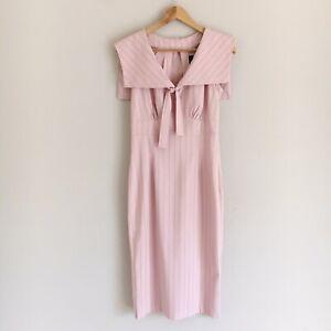 Stop-Staring-Womens-Medium-Pink-Striped-Cape-Collar-Sheath-Dress-Pin-Up-Retro