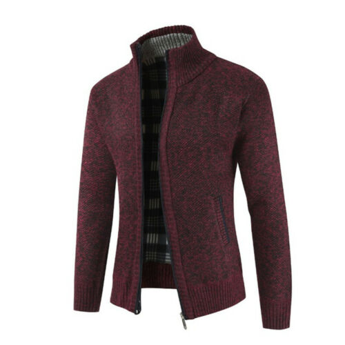 Men/'s Casual Slim Full Zip Thick Knitted Cardigan Sweaters Classic Warm Jacket