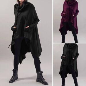 Femme-Simple-Asymetrique-Manche-Longue-Poche-Col-Haut-Sweat-shirts-Haut-Plus