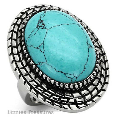 Large Turquoise Ring 316L Stainless Steel Cabochon Bezel Set 18 x 24mm