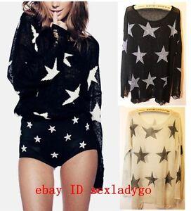Women-039-s-Pentagonal-star-print-Hole-Knit-Sweater-Oversized-Knitwear-Jumper-Tops