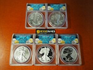 2011 25TH ANNIVERSARY SILVER EAGLE 5 COIN SET ANACS RP70 PR70 SP70 MS70 SP70