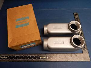 "2 Count Crouse-Hinds LB59 1 1//2/"" Rigid Conduit Outlet Body Mark 9"