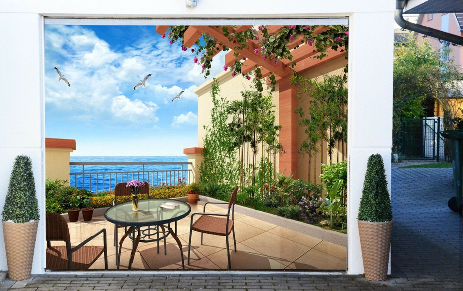 3D Balcony Bird 7 Garage Door Murals Wall Print Decal Wall AJ WALLPAPER UK Carly