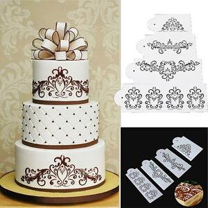 Spitze-Blume-Kuchen-Cookie-Fondant-Seite-Back-Hochzeit-Schablone-Dekor-X-amp-M