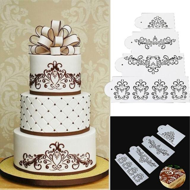 Lace Flower Cake Cookie Fondant Side Baking Wedding Stencil Decor DIY Tools_DM