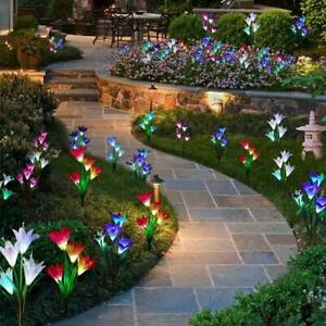4-LED-Solar-Power-Lily-Flower-Stake-Lights-Outdoor-Garden-Path-Luminous-Lamps-UK