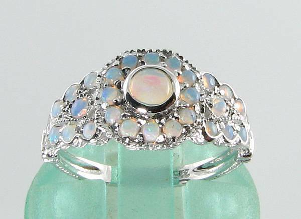 CLASS 9k 9CT WHITE gold ALL FIERY OPAL 27 STONE ART DECO INS RING FREE SIZE