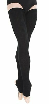 BN Luxury Ribbed Extra Thigh Long Stirrup Leg Warmers  Ballet Dance Warm up