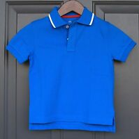 Lands End Boys' Short Sleeve Solid Blue Mesh Polo With White Tipped Collar