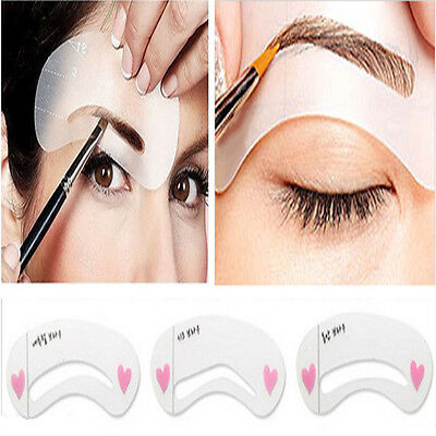 3 Styles Eyebrow Grooming Stencil Kit Template Make Up Shaping Shaper DIY Tools