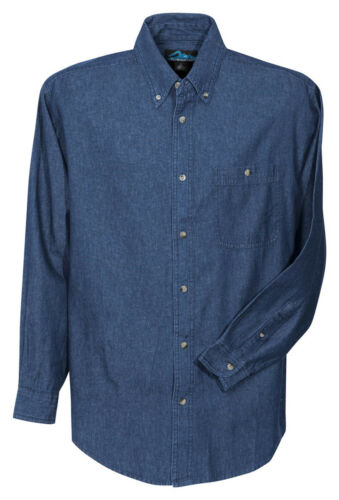 829 Tri-Mountain Men/'s 100/% Cotton Stonewashed Button Down Best Denim Shirt