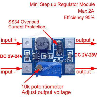 3.3V 5V 9V 12V Adjustable Step up Voltage Regulator Power Supply 2A DC-DC Boost