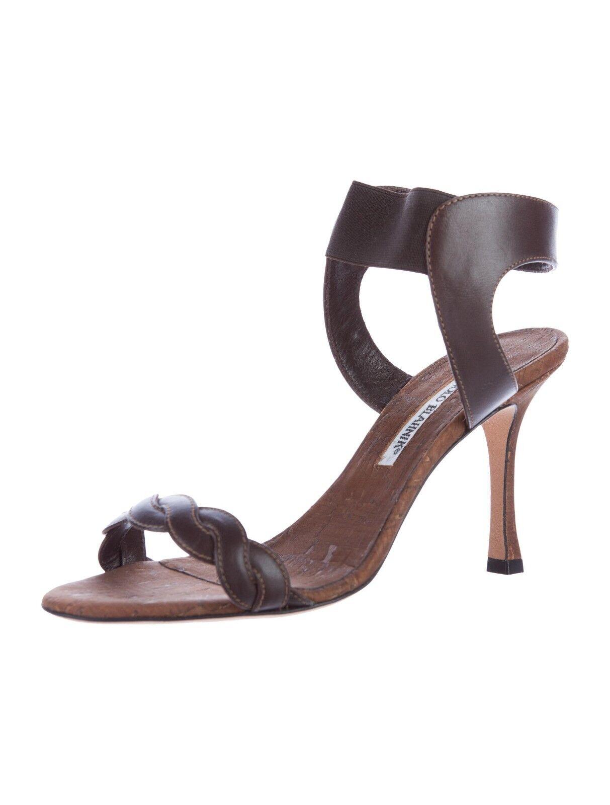 765 Nueva Manolo Blahnik trepe Marrón Cuero Cuero Cuero Corcho Sandalias Zapatos 36 Rara