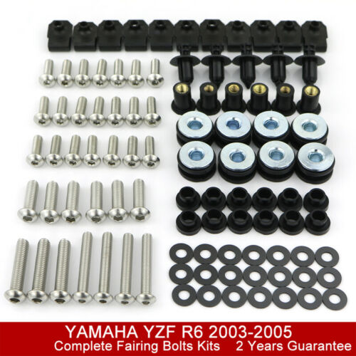 Stainless Complete Fairing Bolt Kit Screw Nuts For Yamaha YZF-R1 YZF-R6 YZF600R