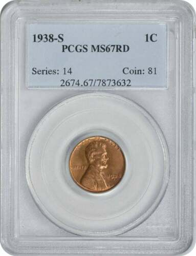 1938-S Lincoln Cent PCGS MS67RD