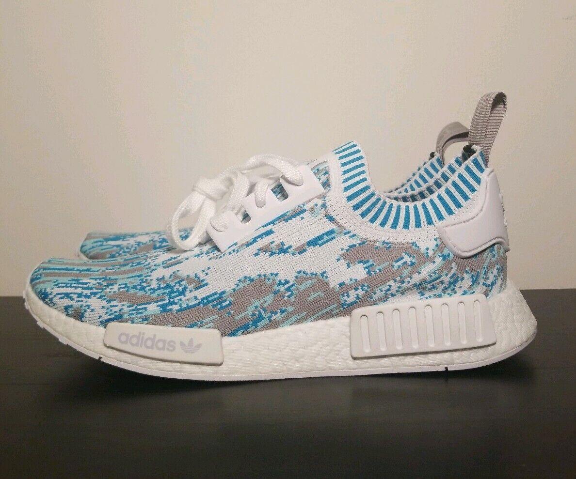Adidas Datamosh NMD R1 SNS PK bluee Grey White Aqua BB6364 Mens Size 10.5 Boost