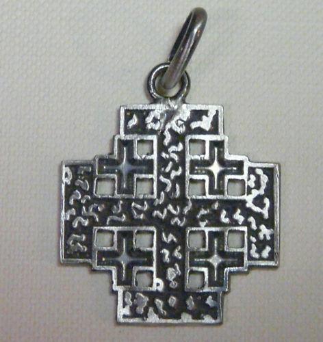 CROCE di GERUSALEMME Ciondolo  argento brunito